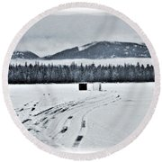 Round Beach Towel featuring the photograph Montana Ice Fishing by Janie Johnson