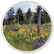Montana Wildflowers Round Beach Towel by Athena Mckinzie