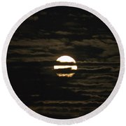 Round Beach Towel featuring the photograph Moon Behind The Clouds by William Norton