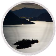 Moon Light Over Islands Round Beach Towel