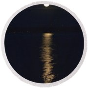Moon Over Seneca Lake Round Beach Towel