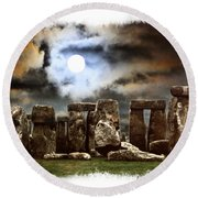 Moon Over Stonehenge Round Beach Towel