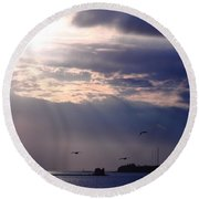 Moonlight Flight Round Beach Towel