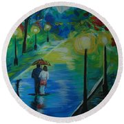 Round Beach Towel featuring the painting Moonlight Stroll Series 1 by Leslie Allen