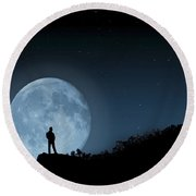 Round Beach Towel featuring the photograph Moonlit Solitude by Steve Purnell