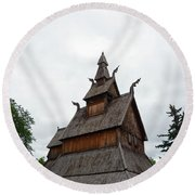 Moorhead Stave Church 26 Round Beach Towel