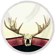 Moose Trophy Round Beach Towel by Priska Wettstein