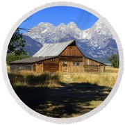 Round Beach Towel featuring the photograph Mormon Row Barn by Marty Koch