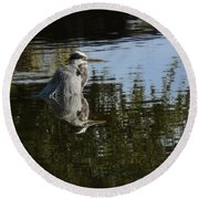 Round Beach Towel featuring the photograph Morning Bath by Steven Sparks