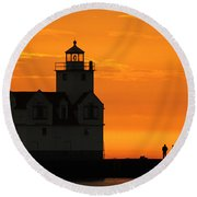 Morning Friends Round Beach Towel