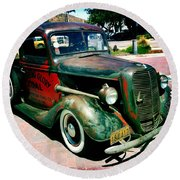 Round Beach Towel featuring the photograph Morning Glory Coal Truck by Nina Prommer