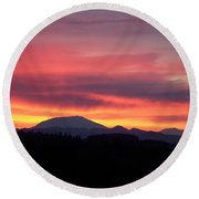 Round Beach Towel featuring the photograph Morning Glow by Chalet Roome-Rigdon