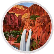 Morning In The Canyon Round Beach Towel