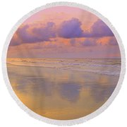 Round Beach Towel featuring the photograph Morning On The Beach  by Lydia Holly
