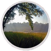Round Beach Towel featuring the photograph Morning On The River by Kay Lovingood