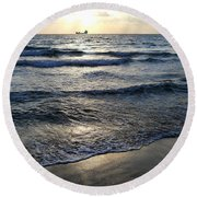 Round Beach Towel featuring the photograph Morning Surf by Clara Sue Beym