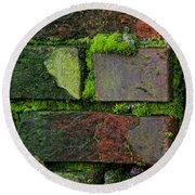 Mossy Brick Wall Round Beach Towel by Carol Ailles