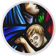 Round Beach Towel featuring the photograph Mother And Child Stained Glass by Verena Matthew