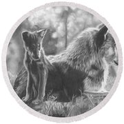 Mother And Pup Round Beach Towel