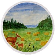 Round Beach Towel featuring the painting Mother Deer And Kids by Sonali Gangane
