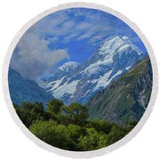 Round Beach Towel featuring the photograph Mount Cook by David Gleeson