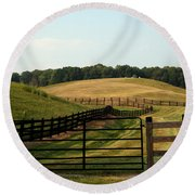 Round Beach Towel featuring the photograph Mountain Farmland by Karen Harrison