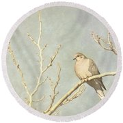 Mourning Dove In Winter Round Beach Towel