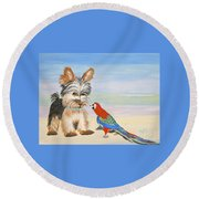 Mouthy Parrot Round Beach Towel