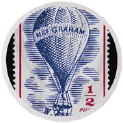 Round Beach Towel featuring the photograph Mrs Graham The Balloonist by Andy Prendy