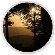 Mt Pisqah Sunset Round Beach Towel