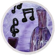 Music In My Glass Round Beach Towel
