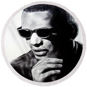 Round Beach Towel featuring the painting Music Legend Ray Charles by Jim Fitzpatrick