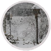 Round Beach Towel featuring the photograph My Backyard by Donna Brown