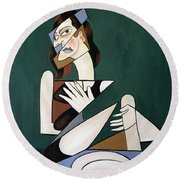 Round Beach Towel featuring the painting My Broken Heart by Anthony Falbo