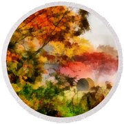 Round Beach Towel featuring the painting My Front Yard by Lynne Jenkins