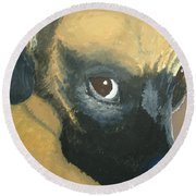 Round Beach Towel featuring the painting My Name Is Attitude by Norm Starks