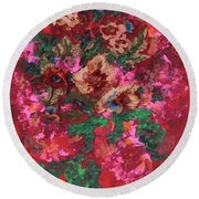 Round Beach Towel featuring the painting My Sister's Garden I by Alys Caviness-Gober