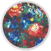Round Beach Towel featuring the painting My Sister's Garden II by Alys Caviness-Gober