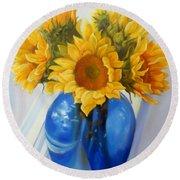 My Sunflowers Round Beach Towel