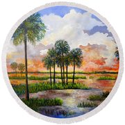 Myakka Sunset Round Beach Towel by Lou Ann Bagnall