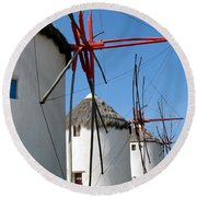 Round Beach Towel featuring the photograph Mykonos Windmills by Carla Parris