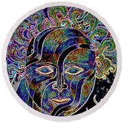 Mythic Mask Round Beach Towel