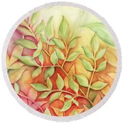 Nandina Leaves Round Beach Towel by Carla Parris
