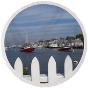 Nantucket Harbor Round Beach Towel