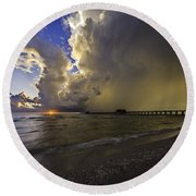 Naples Pier Storm Sunset Round Beach Towel by Nick  Shirghio