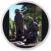 Round Beach Towel featuring the photograph Native American Statue by Chalet Roome-Rigdon