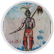 Native American With Scalps Mid-18th C Round Beach Towel