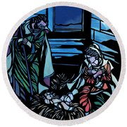 Nativity Stained Glass Round Beach Towel by Methune Hively