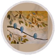 Nature Birds Painting...peaceful Garden Round Beach Towel by Amy Giacomelli