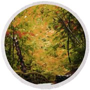 Round Beach Towel featuring the photograph Nature In Oil  by Deniece Platt